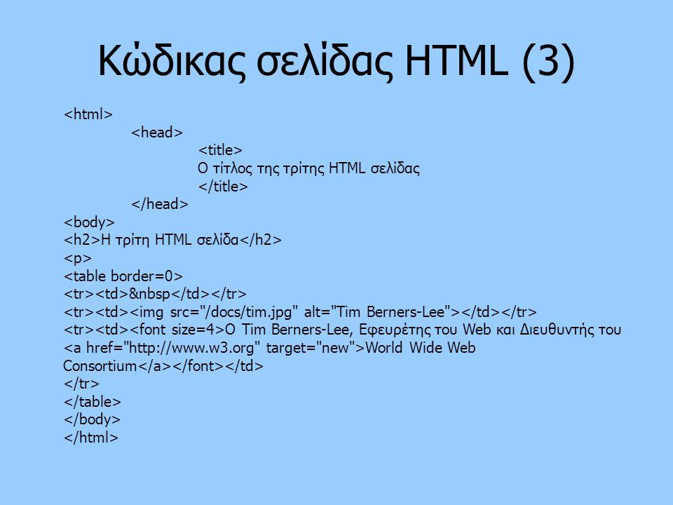 Kώδικας σελίδας HTML (3)