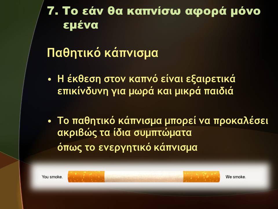 Παθητικό κάπνισμα 7. Το εάν θα καπνίσω αφορά μόνο εμένα