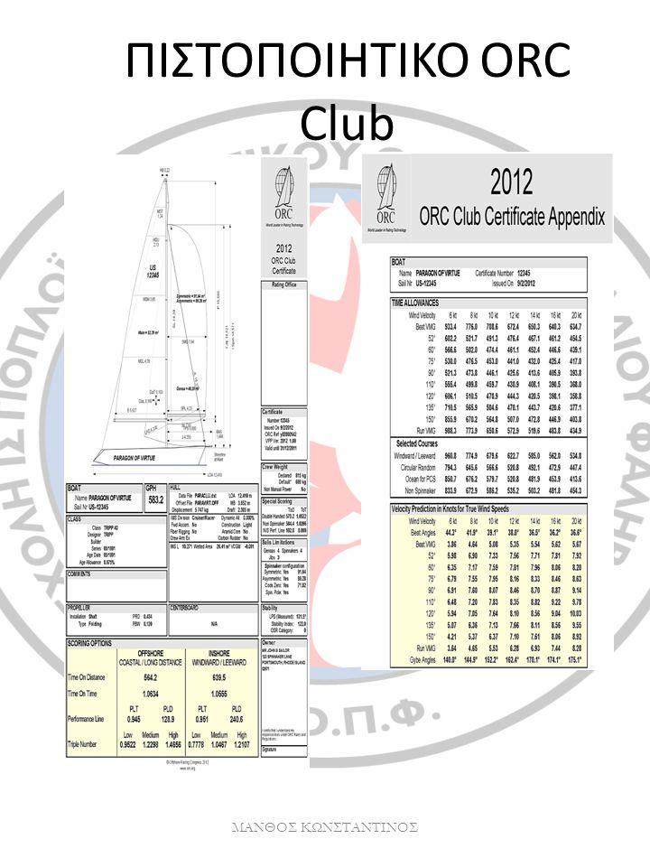 ΠΙΣΤΟΠΟΙΗΤΙΚΟ ORC Club