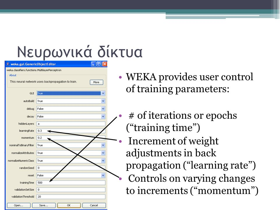 Νευρωνικά δίκτυα WEKA provides user control of training parameters: