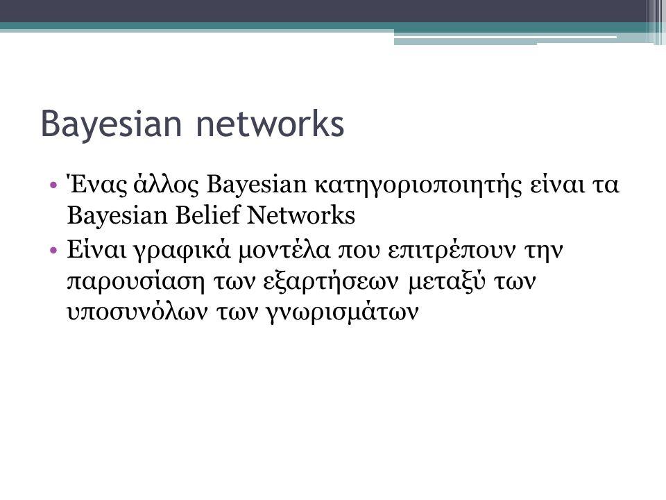 Bayesian networks Ένας άλλος Bayesian κατηγοριοποιητής είναι τα Bayesian Belief Networks.