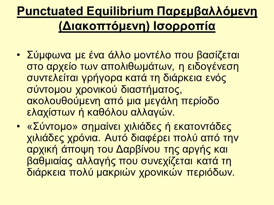 Punctuated Equilibrium Παρεμβαλλόμενη (Διακοπτόμενη) Ισορροπία
