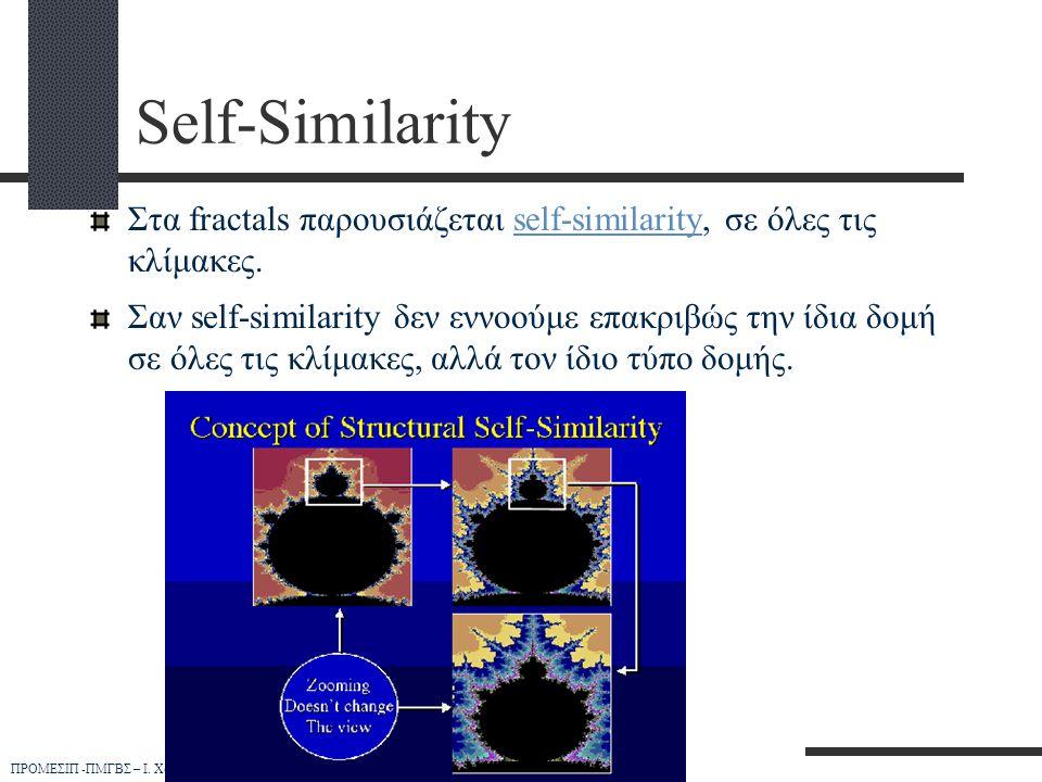 Self-Similarity Στα fractals παρουσιάζεται self-similarity, σε όλες τις κλίμακες.