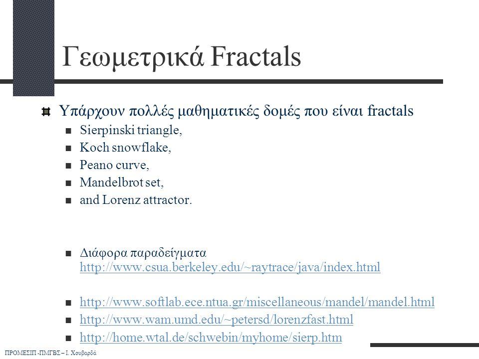 Γεωμετρικά Fractals Υπάρχουν πολλές μαθηματικές δομές που είναι fractals. Sierpinski triangle, Koch snowflake,