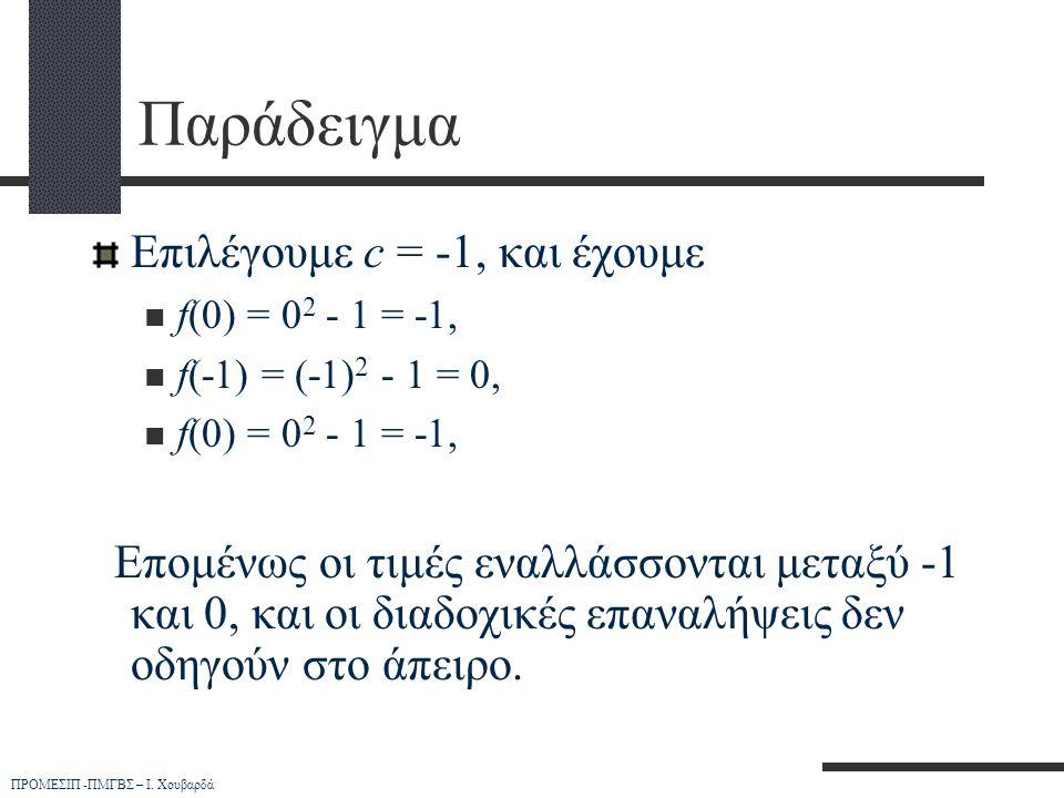 Παράδειγμα Επιλέγουμε c = -1, και έχουμε
