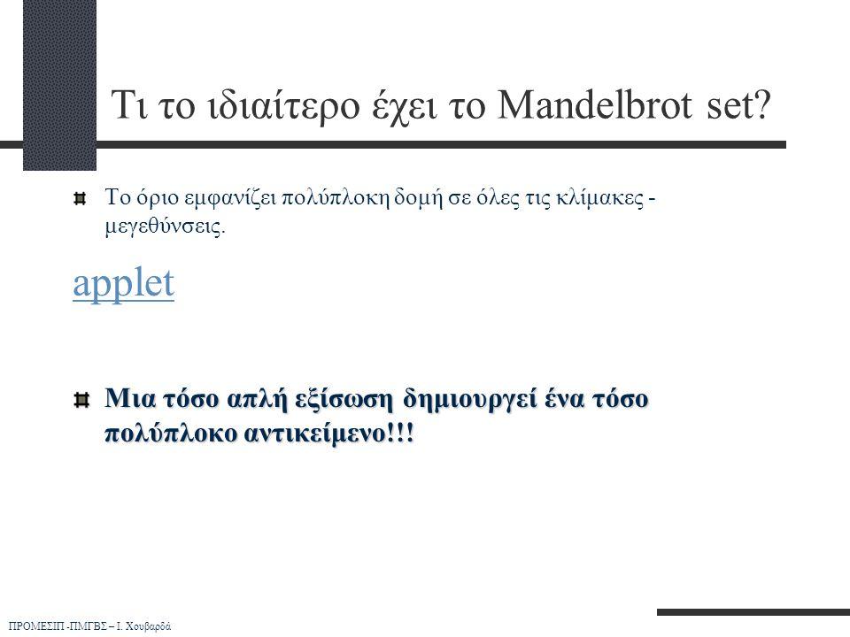 Τι το ιδιαίτερο έχει το Mandelbrot set