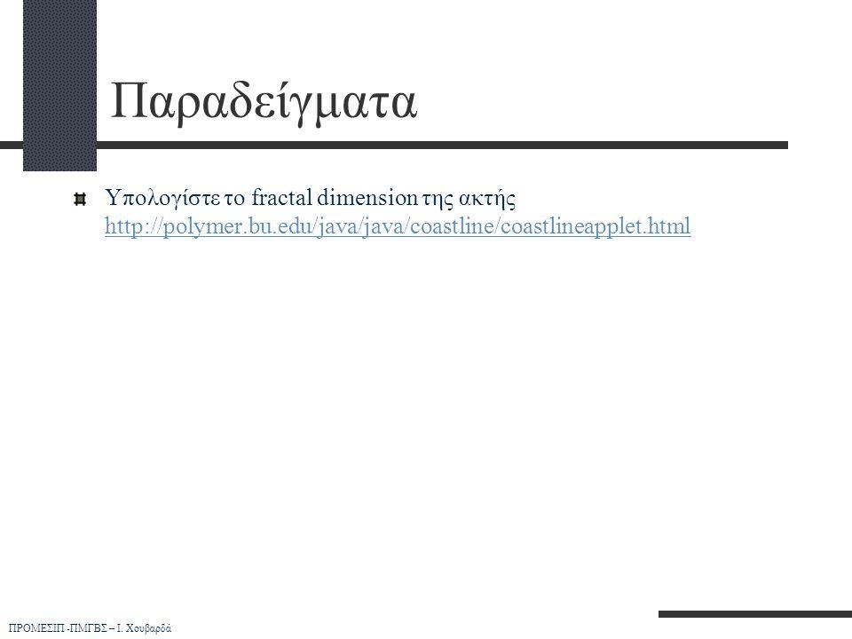 Παραδείγματα Υπολογίστε το fractal dimension της ακτής http://polymer.bu.edu/java/java/coastline/coastlineapplet.html.