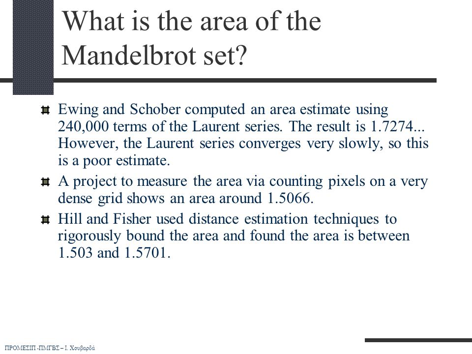 What is the area of the Mandelbrot set