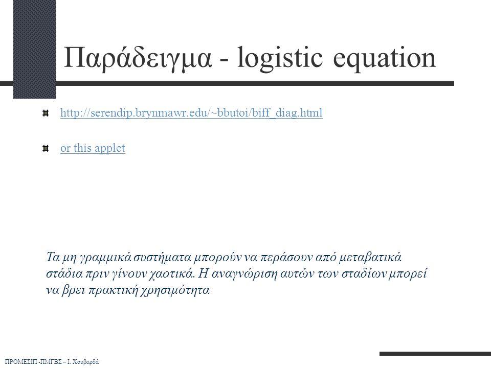 Παράδειγμα - logistic equation