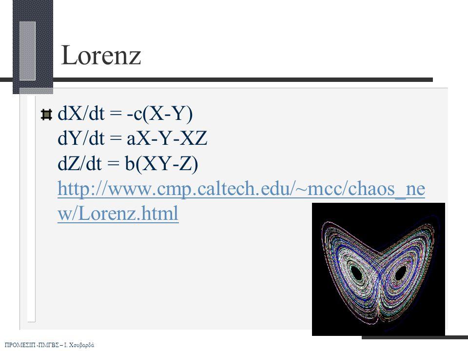 Lorenz dX/dt = -c(X-Y) dY/dt = aX-Y-XZ dZ/dt = b(XY-Z) http://www.cmp.caltech.edu/~mcc/chaos_new/Lorenz.html.