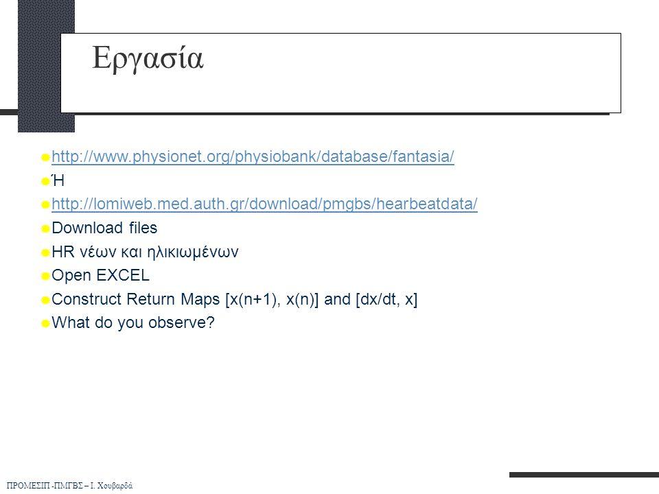 Εργασία http://www.physionet.org/physiobank/database/fantasia/ Ή