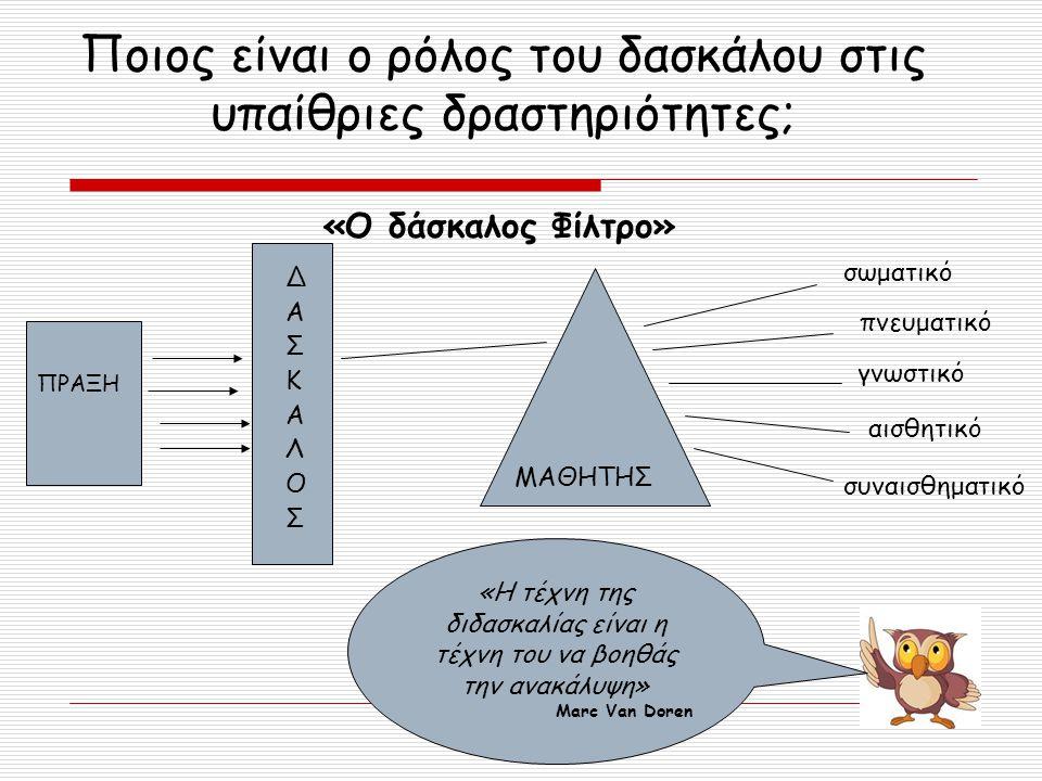 Ποιος είναι ο ρόλος του δασκάλου στις υπαίθριες δραστηριότητες;