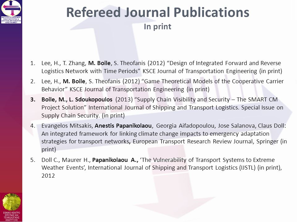 Refereed Journal Publications