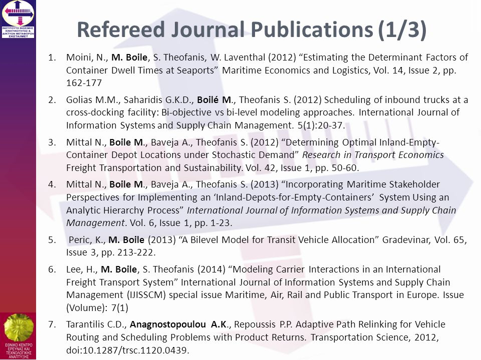 Refereed Journal Publications (1/3)