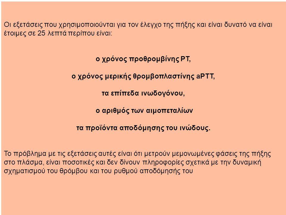 ο χρόνος προθρομβίνης PT, ο χρόνος μερικής θρομβοπλαστίνης aPTT,