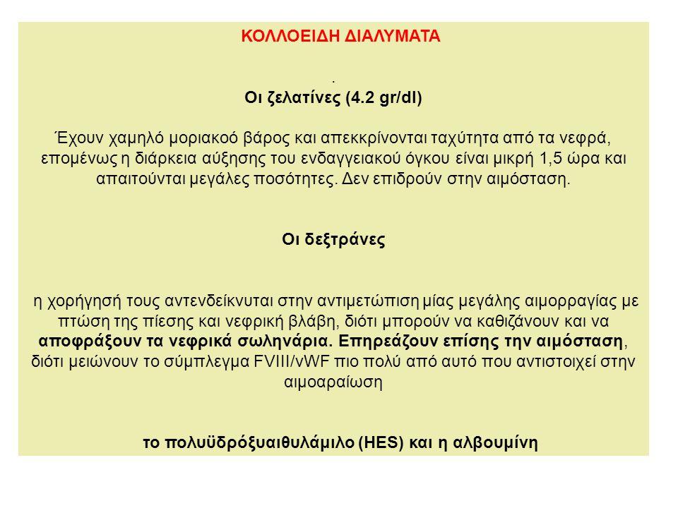 το πολυϋδρόξυαιθυλάμιλο (HES) και η αλβουμίνη
