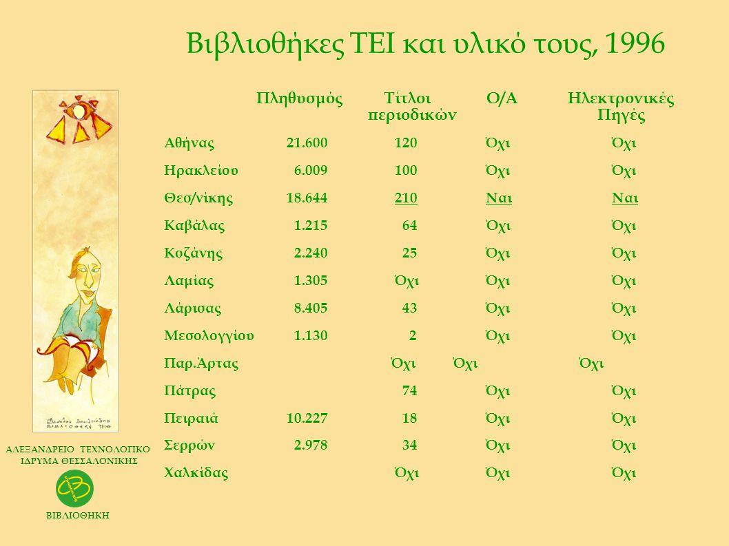 Βιβλιοθήκες ΤΕΙ και υλικό τους, 1996