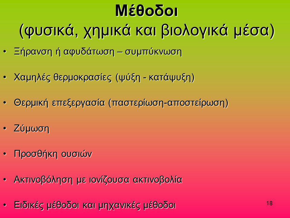 Μέθοδοι (φυσικά, χημικά και βιολογικά μέσα)