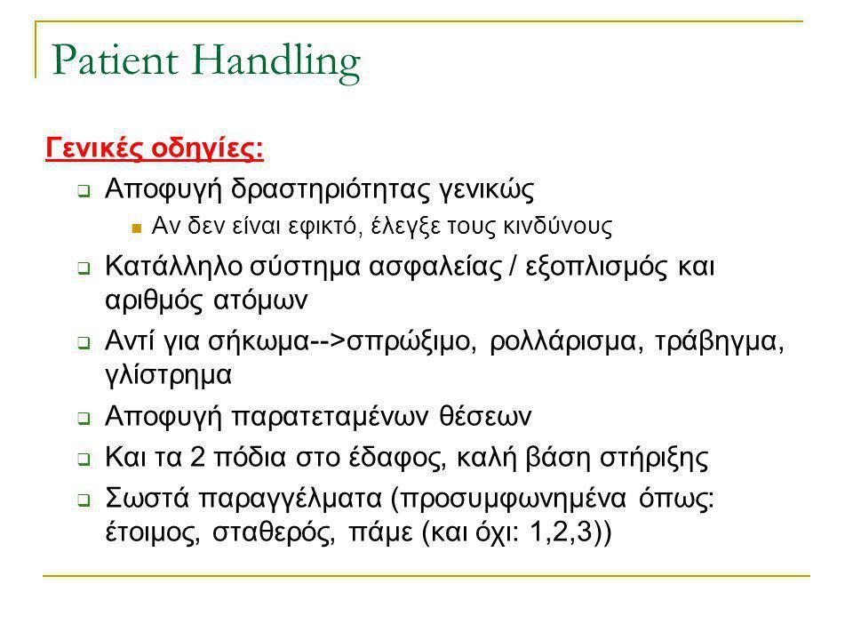 Patient Handling Γενικές οδηγίες: Αποφυγή δραστηριότητας γενικώς