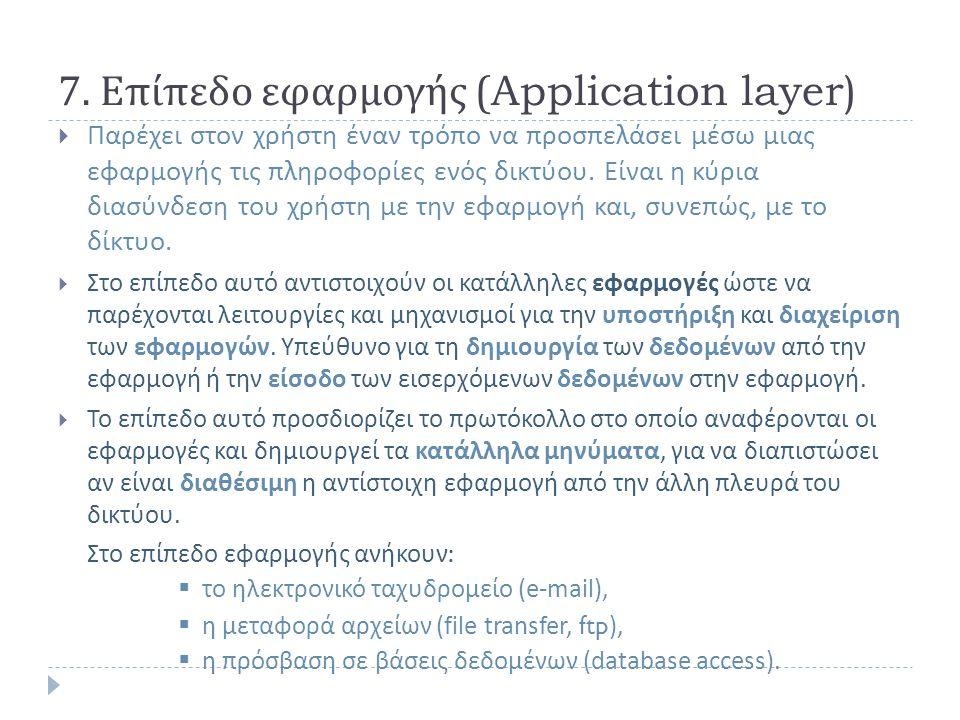 7. Επίπεδο εφαρμογής (Application layer)