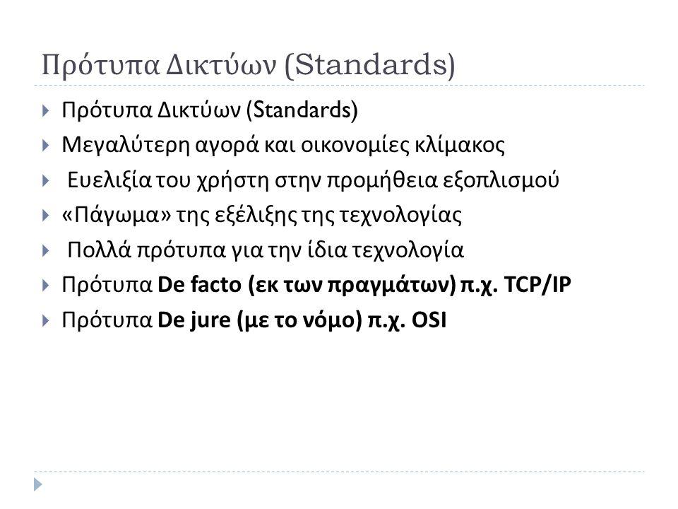 Πρότυπα Δικτύων (Standards)
