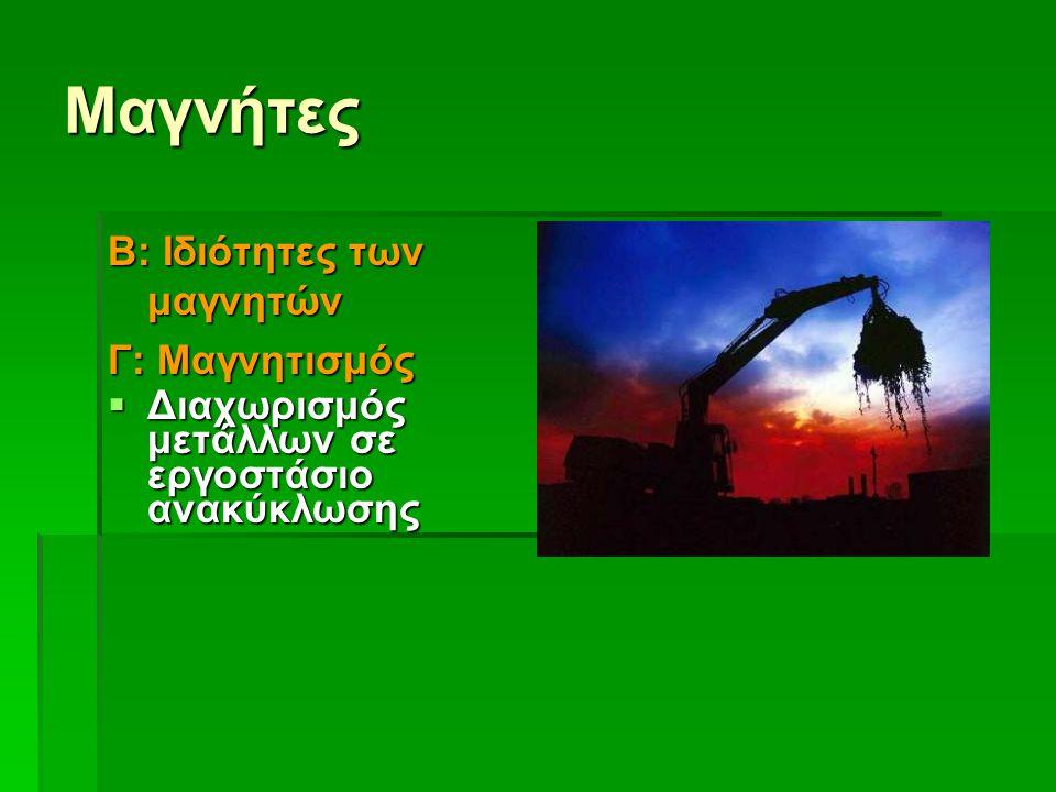 Μαγνήτες Β: Ιδιότητες των μαγνητών Γ: Μαγνητισμός