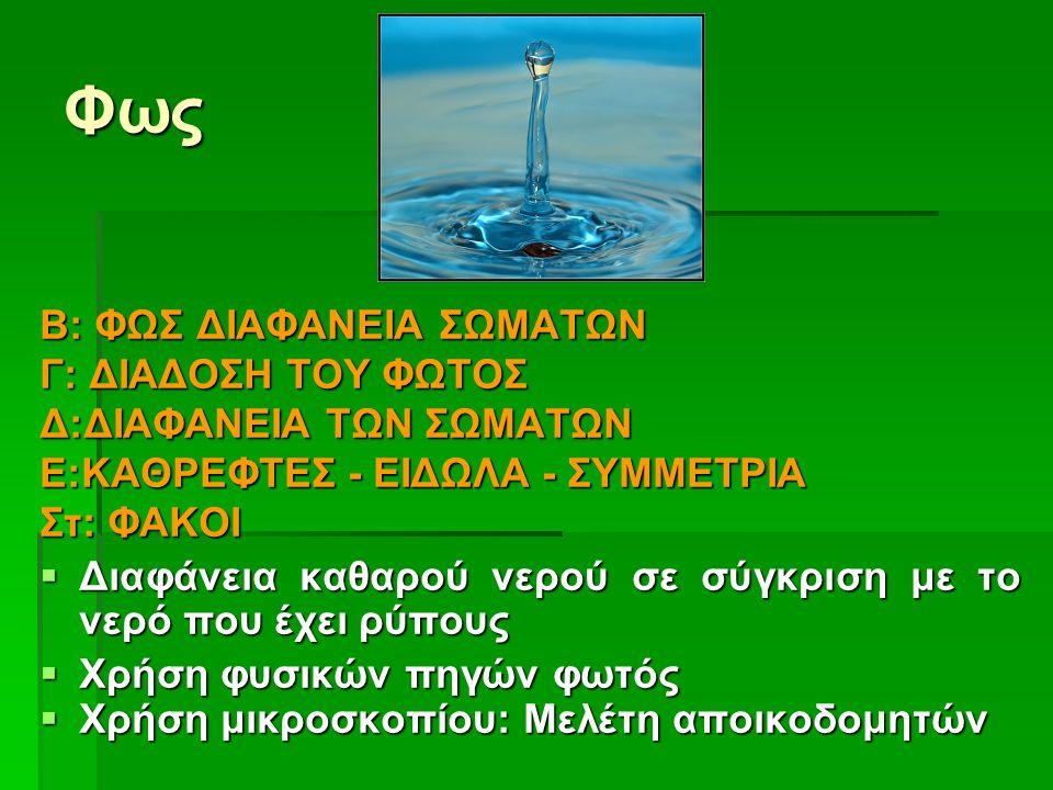 Φως Β: ΦΩΣ ΔΙΑΦΑΝΕΙΑ ΣΩΜΑΤΩΝ Γ: ΔΙΑΔΟΣΗ ΤΟΥ ΦΩΤΟΣ