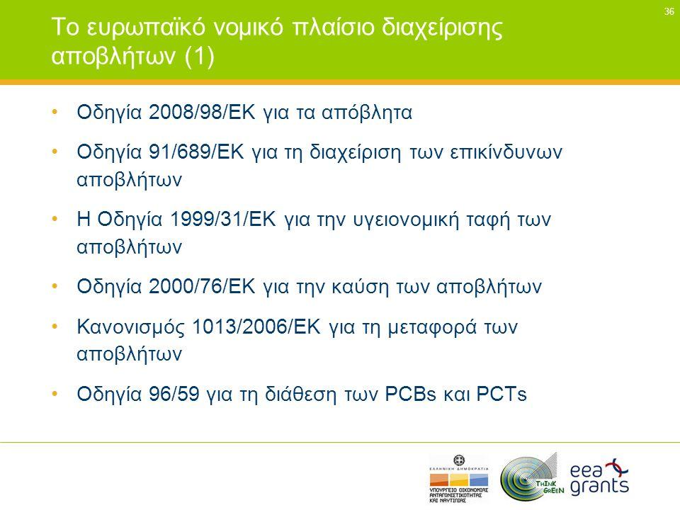 Το ευρωπαϊκό νοµικό πλαίσιο διαχείρισης αποβλήτων (1)