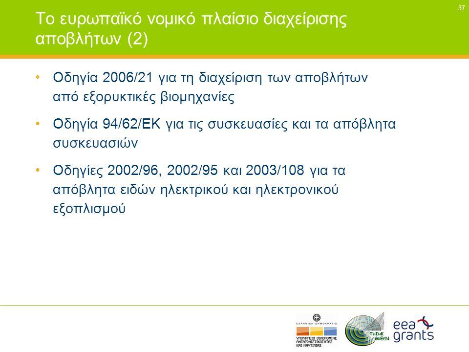 Το ευρωπαϊκό νοµικό πλαίσιο διαχείρισης αποβλήτων (2)