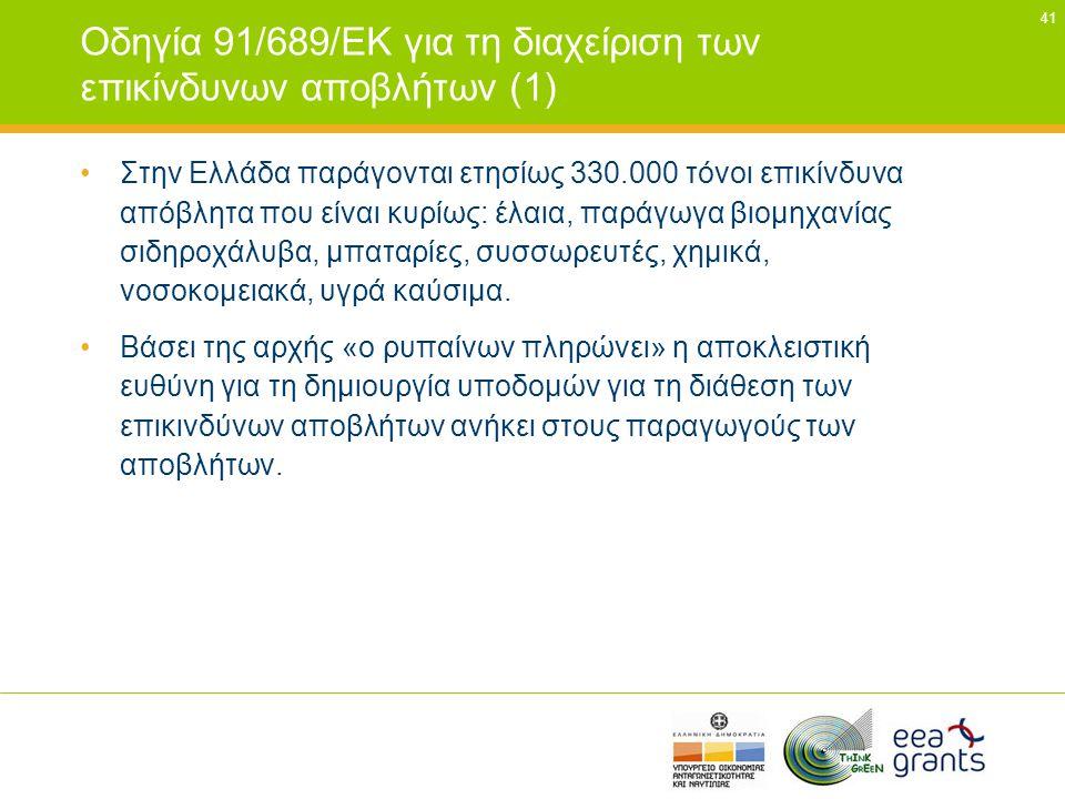 Οδηγία 91/689/ΕΚ για τη διαχείριση των επικίνδυνων αποβλήτων (1)