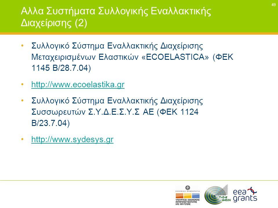 Αλλα Συστήματα Συλλογικής Εναλλακτικής Διαχείρισης (2)