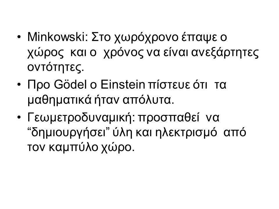 Minkowski: Στο χωρόχρονο έπαψε ο χώρος και ο χρόνος να είναι ανεξάρτητες οντότητες.