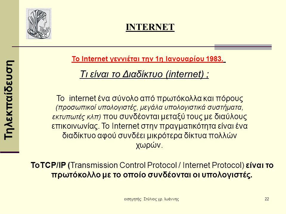 Τι είναι το Διαδίκτυο (internet) ;