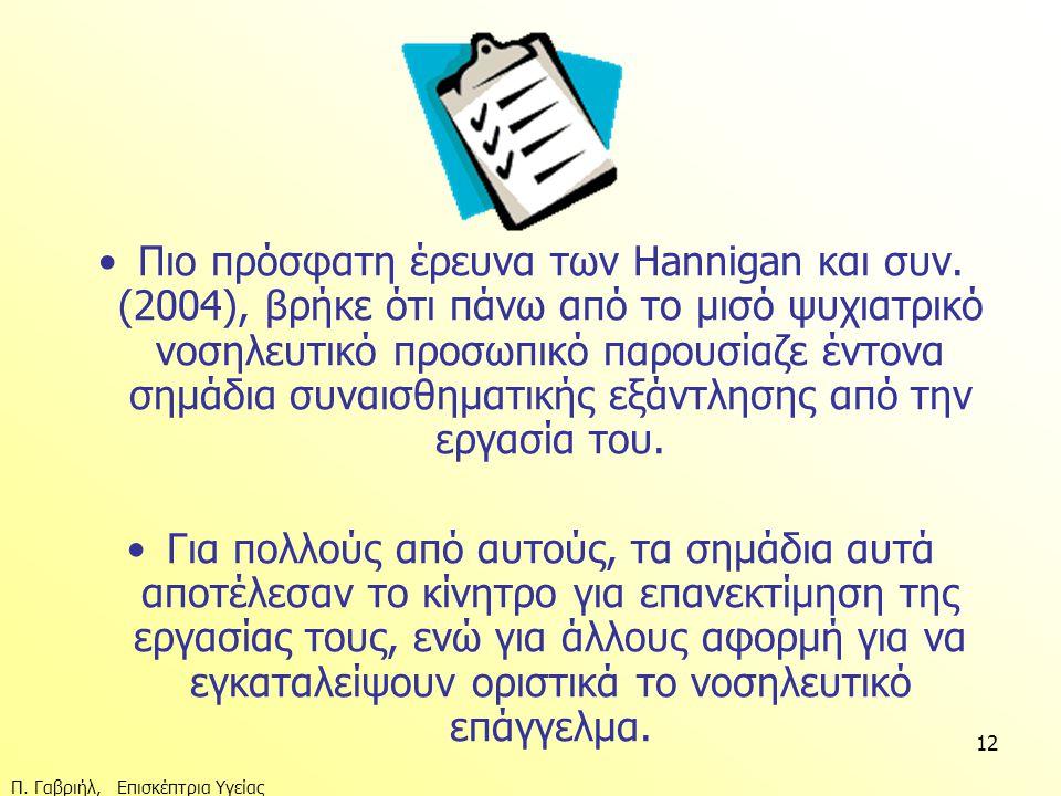 Πιο πρόσφατη έρευνα των Hannigan και συν