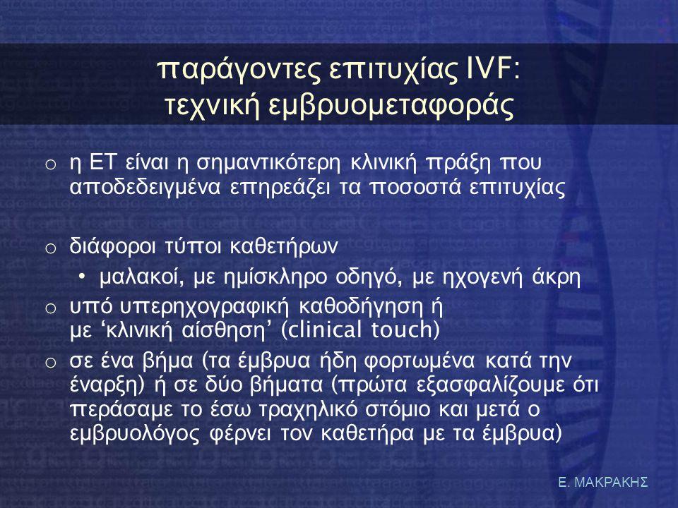 παράγοντες επιτυχίας IVF: τεχνική εμβρυομεταφοράς