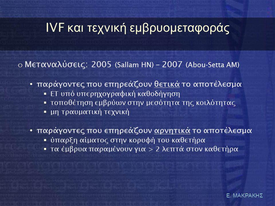 IVF και τεχνική εμβρυομεταφοράς