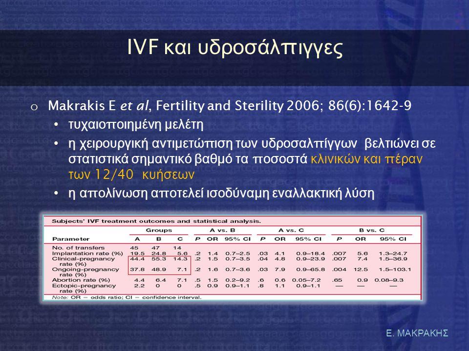 IVF και υδροσάλπιγγες Makrakis E et al, Fertility and Sterility 2006; 86(6):1642-9. τυχαιοποιημένη μελέτη.