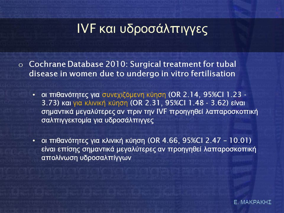 IVF και υδροσάλπιγγες Cochrane Database 2010: Surgical treatment for tubal disease in women due to undergo in vitro fertilisation.