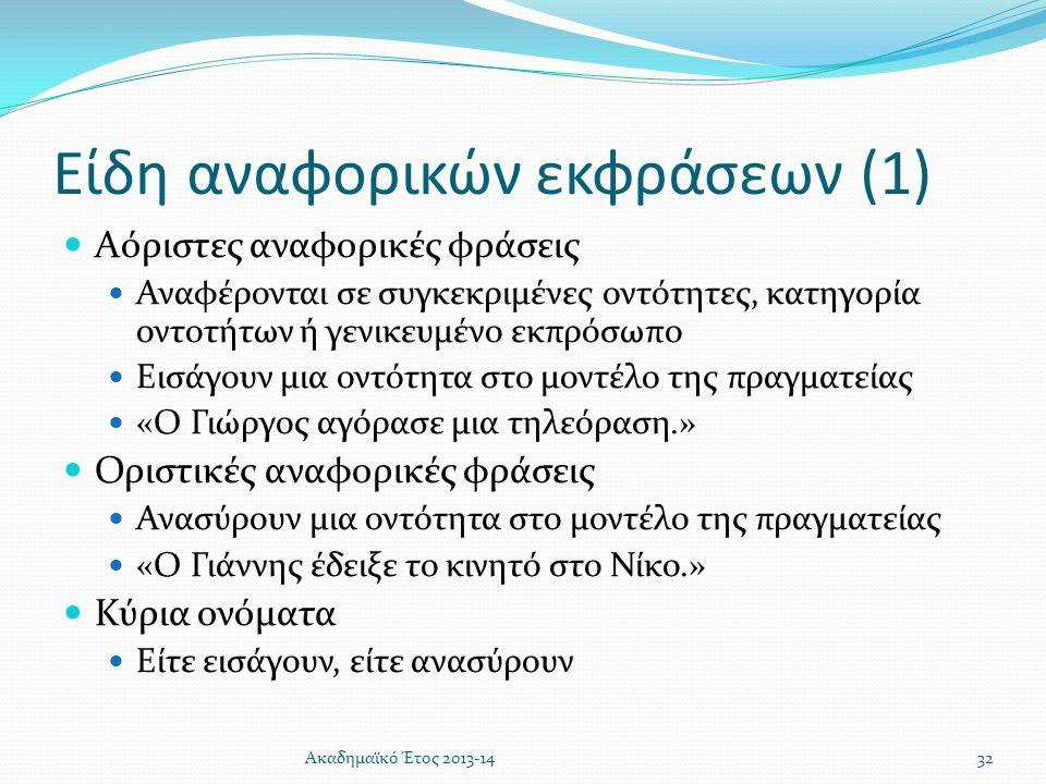 Είδη αναφορικών εκφράσεων (1)