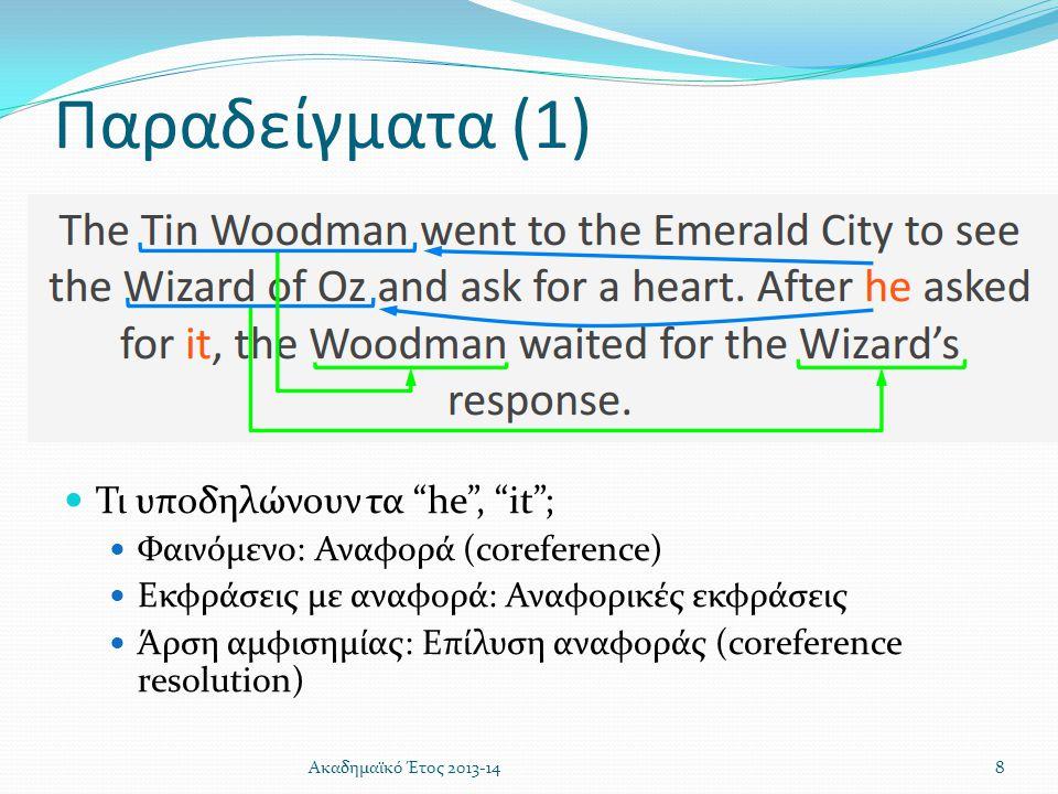Παραδείγματα (1) Τι υποδηλώνουν τα he , it ;
