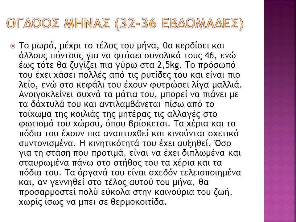 ΟΓΔΟΟΣ ΜΗΝΑΣ (32-36 εβδομΑδες)