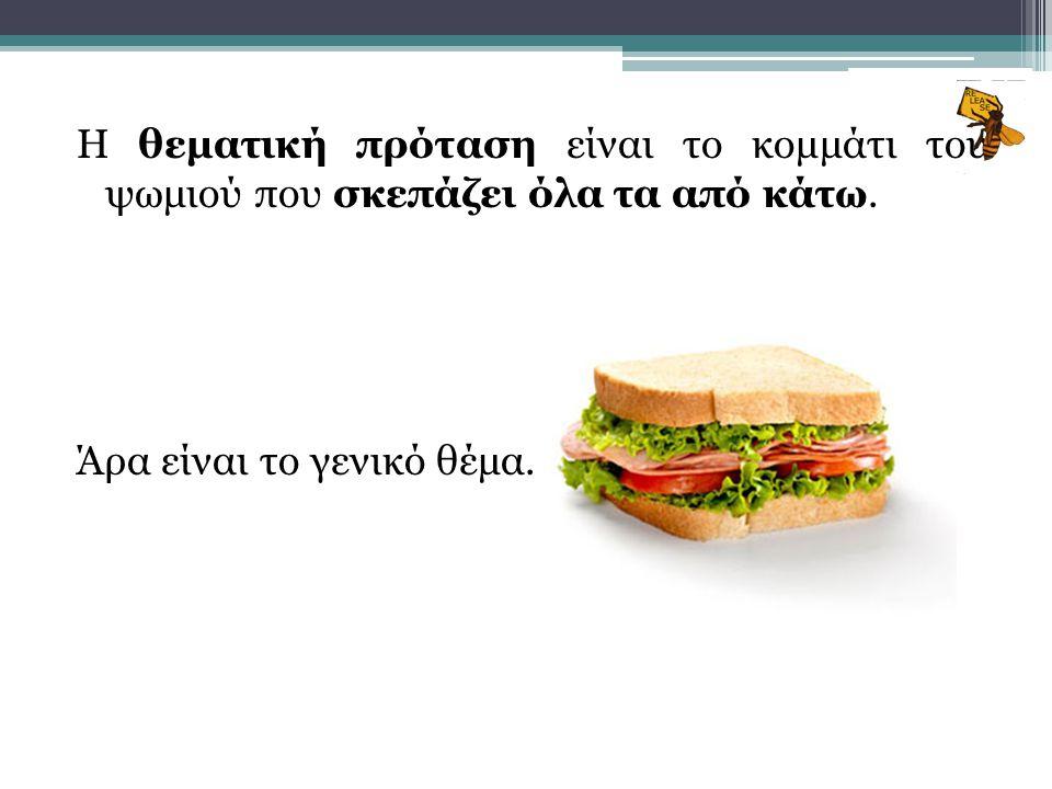 Η θεματική πρόταση είναι το κομμάτι του ψωμιού που σκεπάζει όλα τα από κάτω.
