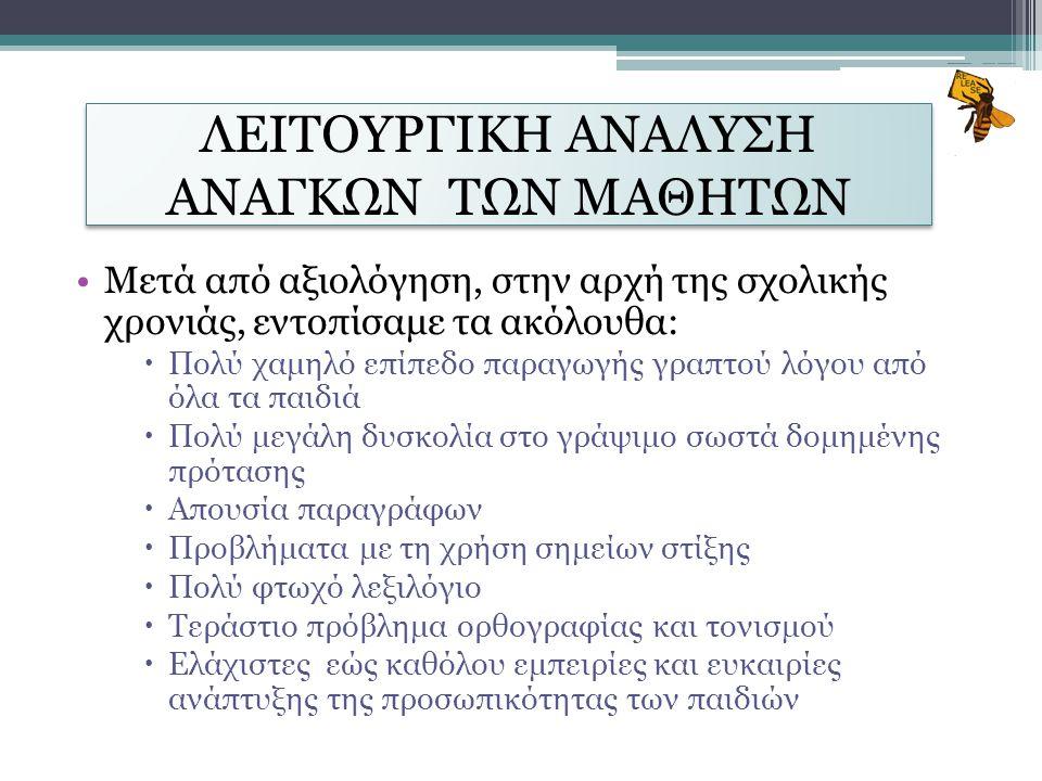 ΛΕΙΤΟΥΡΓΙΚΗ ΑΝΑΛΥΣΗ ΑΝΑΓΚΩΝ ΤΩΝ ΜΑΘΗΤΩΝ
