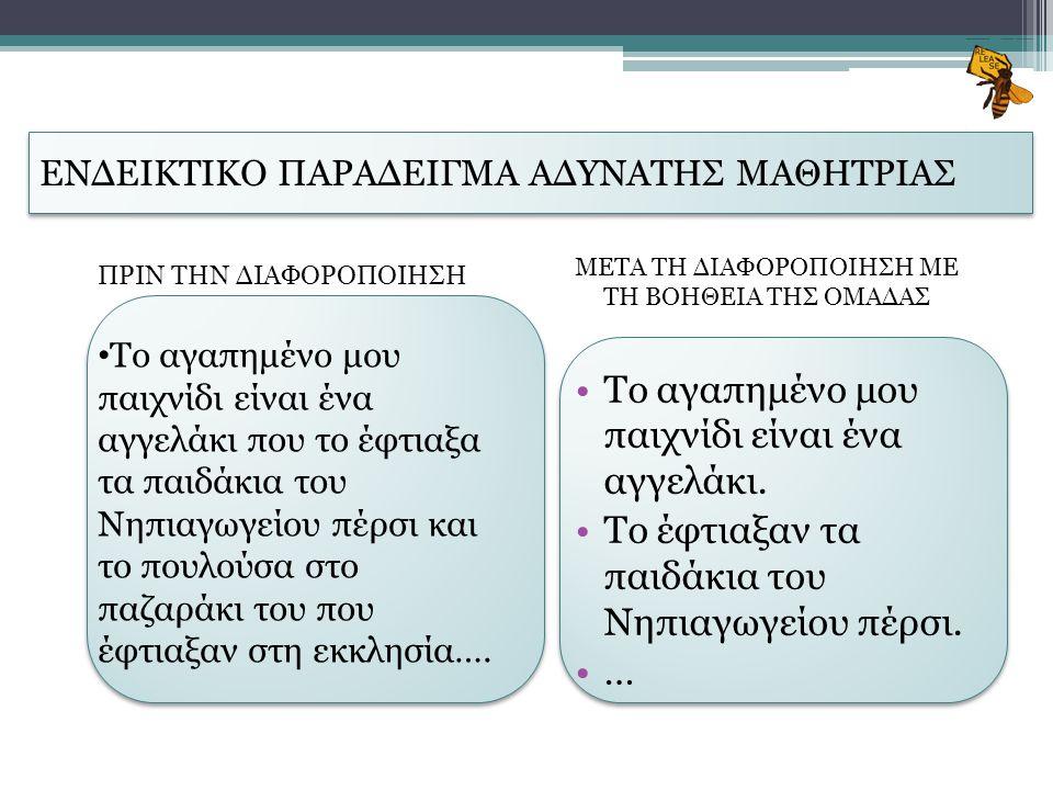 ΕΝΔΕΙΚΤΙΚΟ ΠΑΡΑΔΕΙΓΜΑ ΑΔΥΝΑΤΗΣ ΜΑΘΗΤΡΙΑΣ