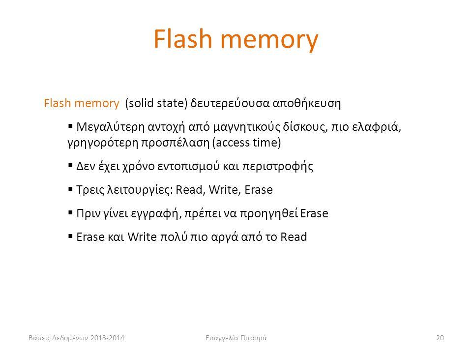 Flash memory Flash memory (solid state) δευτερεύουσα αποθήκευση