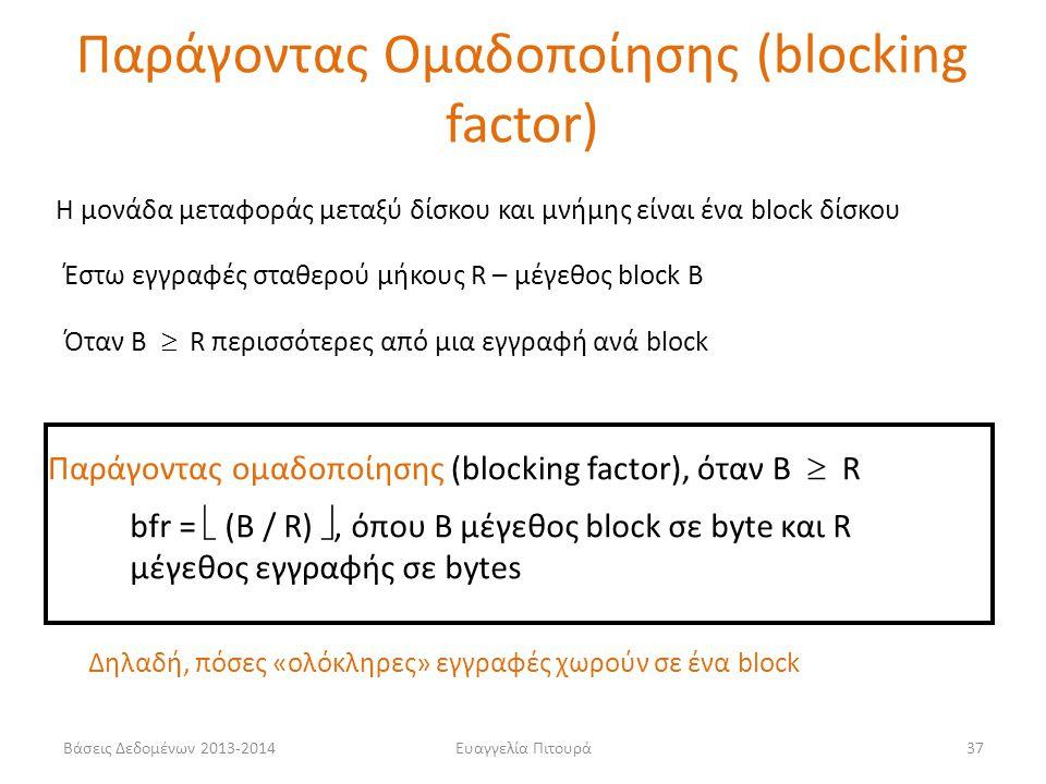 Παράγοντας Ομαδοποίησης (blocking factor)