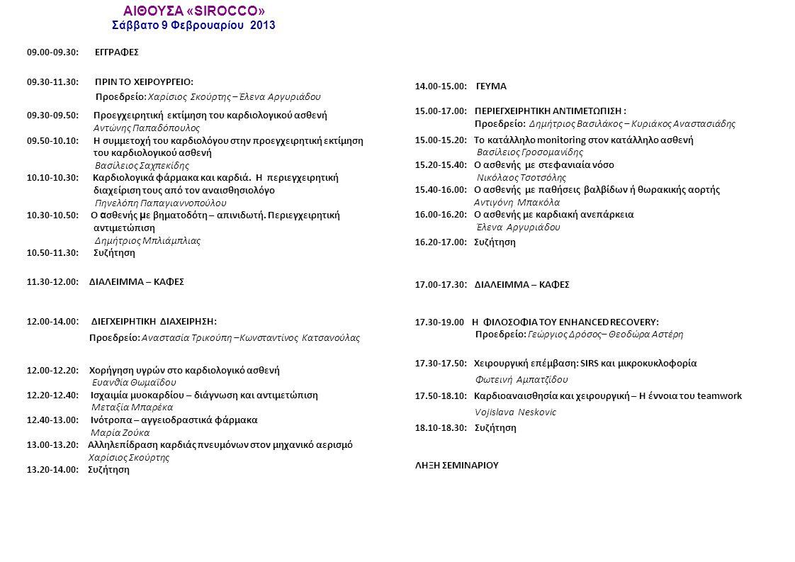ΑΙΘΟΥΣΑ «SIROCCO» Σάββατο 9 Φεβρουαρίου 2013 09.00-09.30: ΕΓΓΡΑΦΕΣ