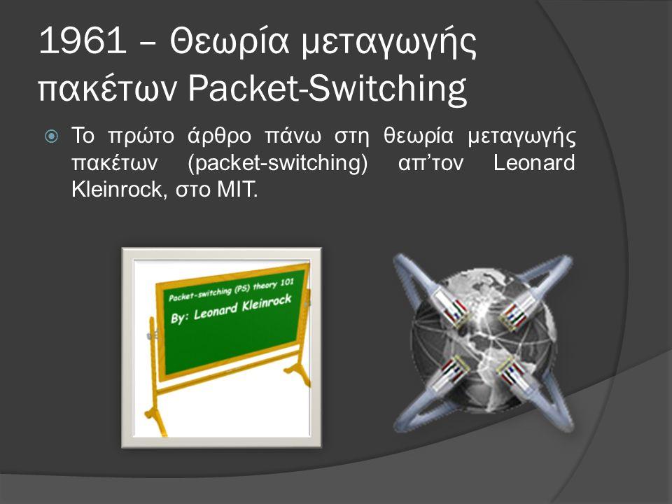 1961 – Θεωρία μεταγωγής πακέτων Packet-Switching