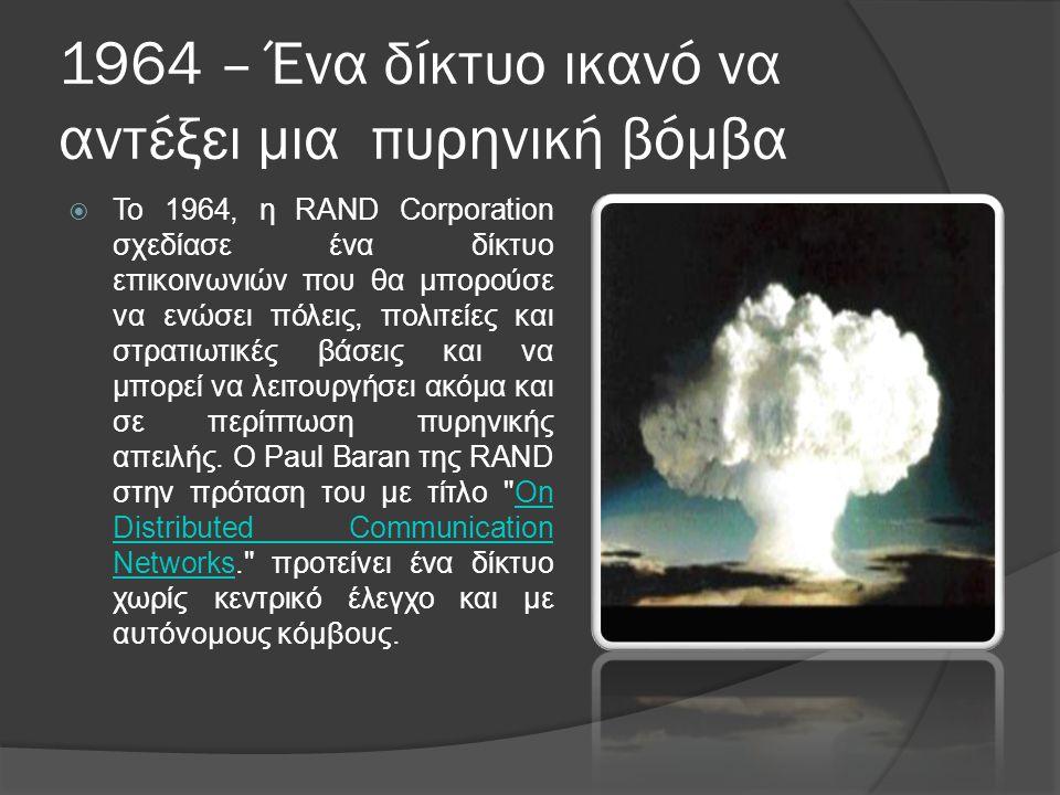 1964 – Ένα δίκτυο ικανό να αντέξει μια πυρηνική βόμβα