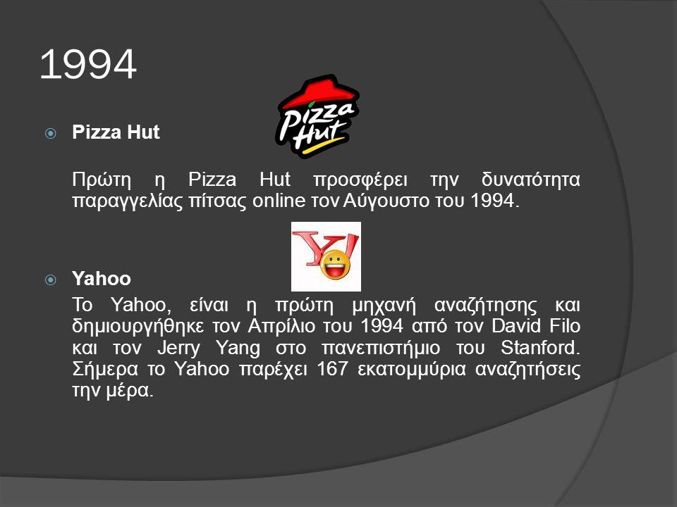 1994 Pizza Hut. Πρώτη η Pizza Hut προσφέρει την δυνατότητα παραγγελίας πίτσας online τον Αύγουστο του 1994.